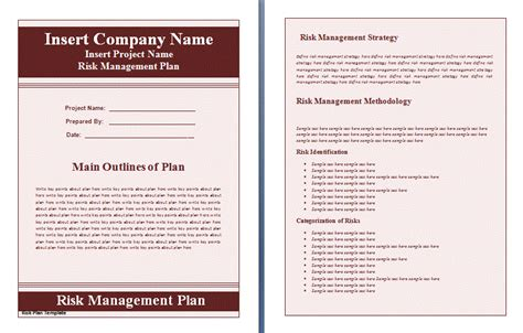 risk and opportunity management plan template risk management plan template free word s templates