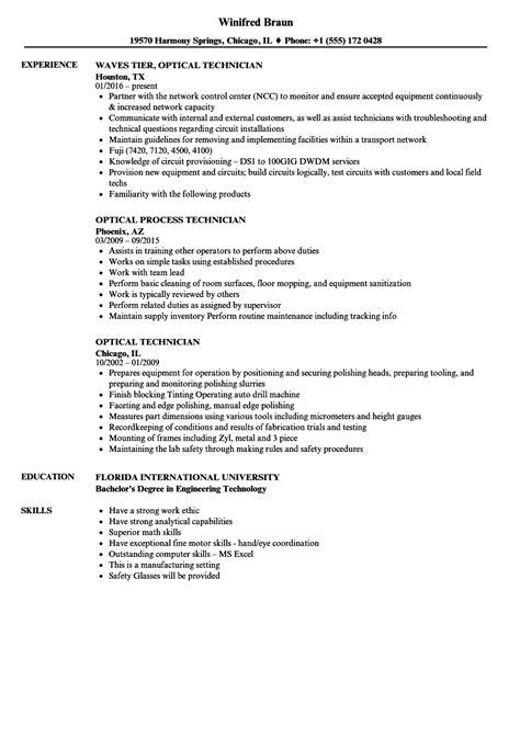 optical technician resume sles velvet
