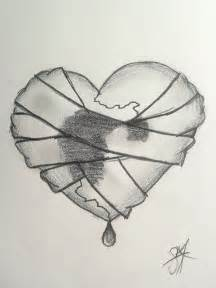 really detailed broken heart sketches bandaged heart by