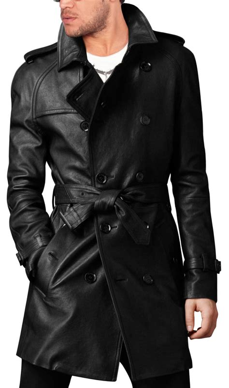 Handmade Coats - handmade leather trench coat mens belted leather