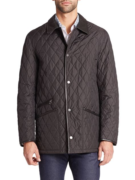 ferragamo quilted barn coat in black for lyst