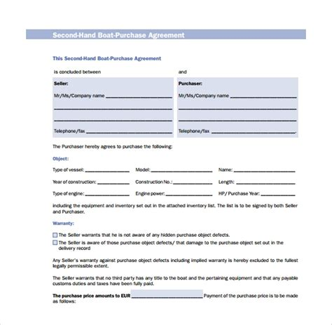9 Boat Purchase Agreement Templates Sle Templates Free Boat Agreement Template