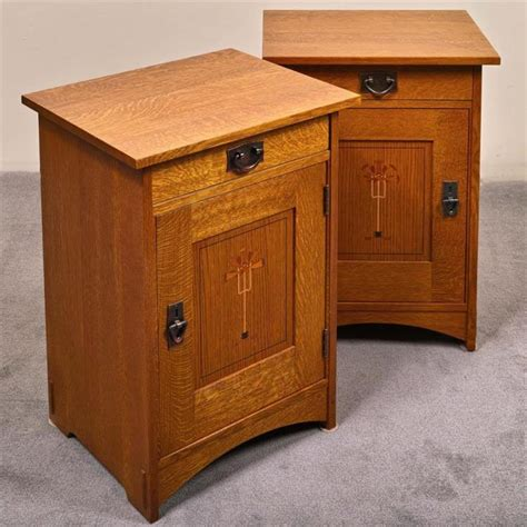 correction stickley pair of bedside tables arts crafts