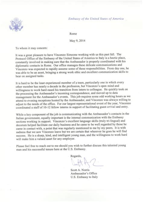 Letter To The Embassy Reference Letter U S Embassy