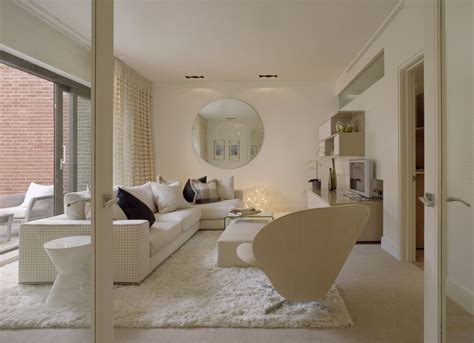 white living room complete your interior with posh treatment of faux fluffy