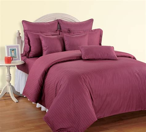 fitted bed coverlet 4 pcs sateen 500tc queen cotton stripy duvet quilt cover