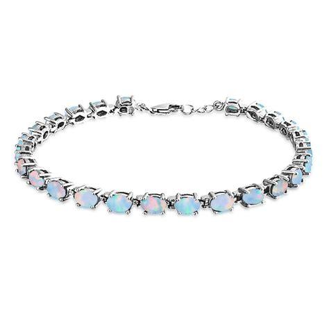 925 silver synthetic opal oval tennis bracelet 7 5in