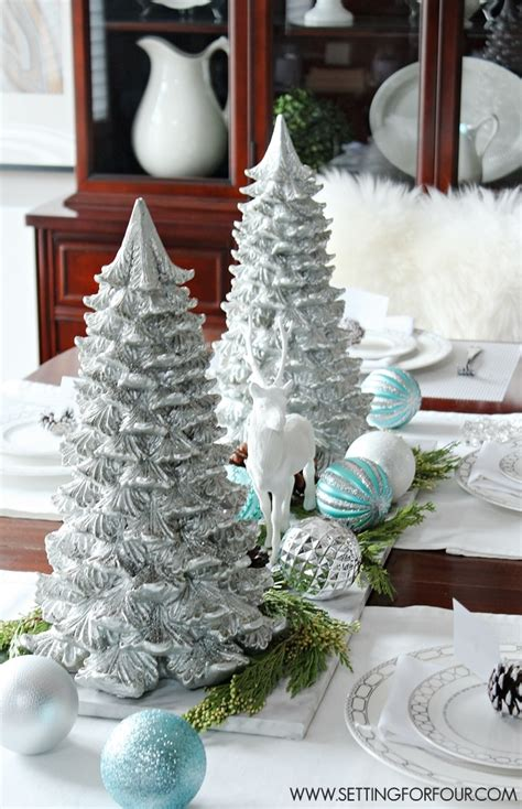 how to make winter decorations winter woodland glam centerpiece setting for four