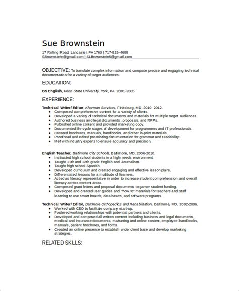 Resume Exles Technical Technical Writer Resume Template 6 Free Word Pdf