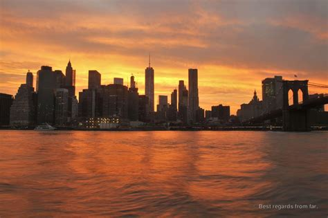 photo of the day the manhattan skyline at sunset new york city best regards from far
