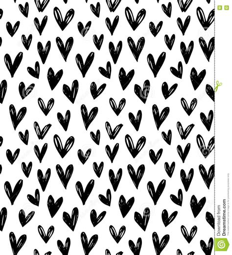 heart pattern wallpaper black and white vector seamless pattern with hand drawn doodle black small