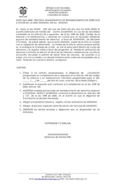 Ejemplo De Carta De Custodia Temporal | acta custodia y cuidado provisional