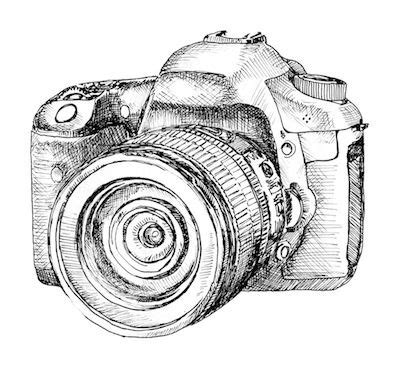 hand drawn dslr camera | cross hatching | 2live graphics