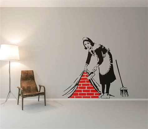 cleaning lady wall decal sticker banksy style street art