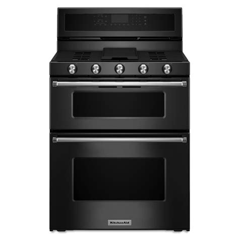 Oven Gas 2 Pintu shop kitchenaid 30 in 5 burner 3 9 cu ft 2 1 cu ft self cleaning oven convection gas