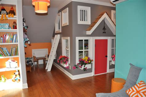 kids playroom indoor playhouse kids contemporary with attic bookshelves