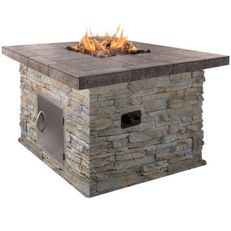 Cal Flame 48 In Natural Stone Propane Gas Fire Pit In Lp Gas Firepits