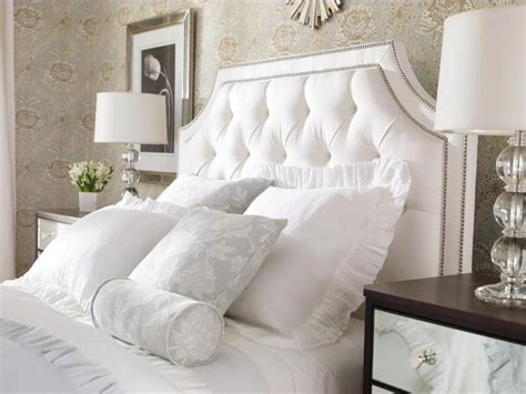 Bedroom With Tufted Headboard by This Tufted Headboard Beautiful Monochromatic