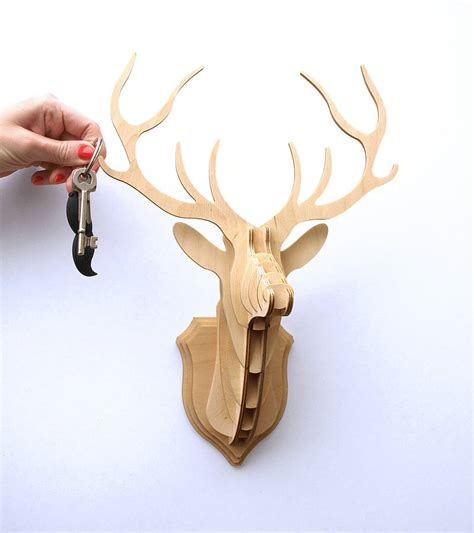 wooden stag trophy key hanger by clive roddy