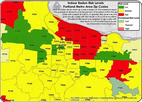radon map portland oregon portland oregon radon by zip code map