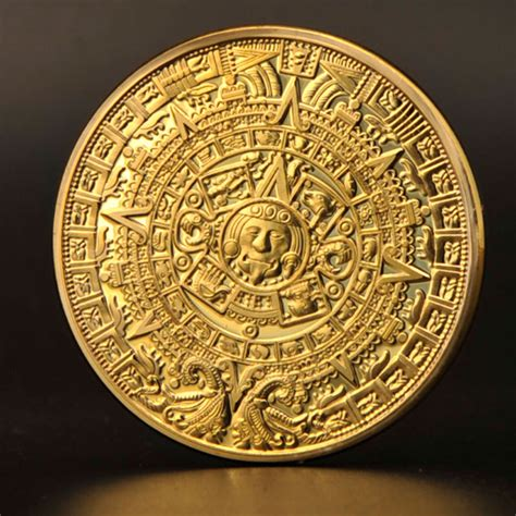 Aztec Replica Lucky Coin free shipping 2015 aztec gold plate coins 100pcs commemorative coin medal replica