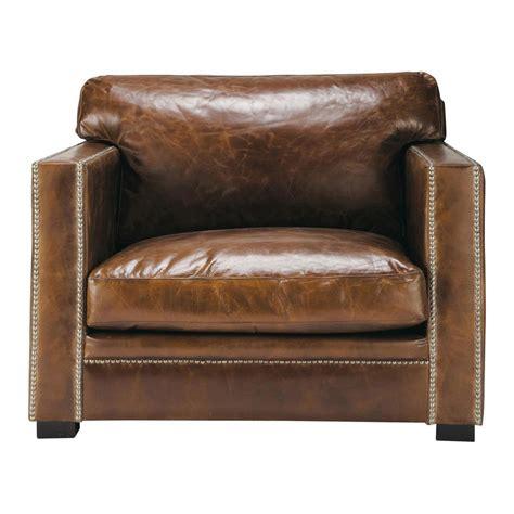 fauteuil cuir fauteuil en cuir marron dandy maisons du monde