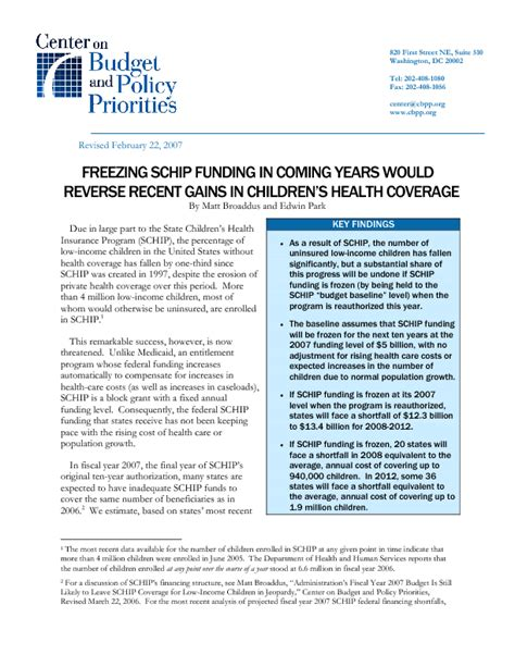 freezing schip funding in coming years would reverse - Schip Funding