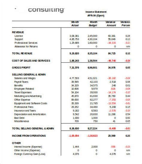 monthly income statement template excel income statement template excel 7 free excel documents