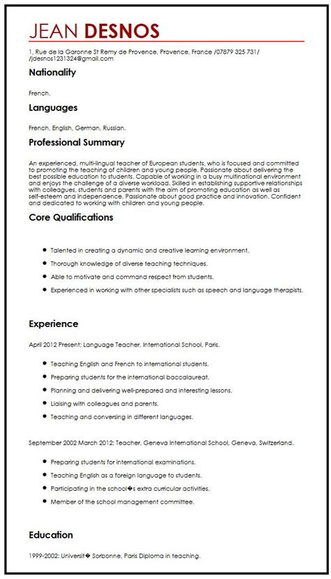 cv exle language type my journalism curriculum vitae 28 images writing