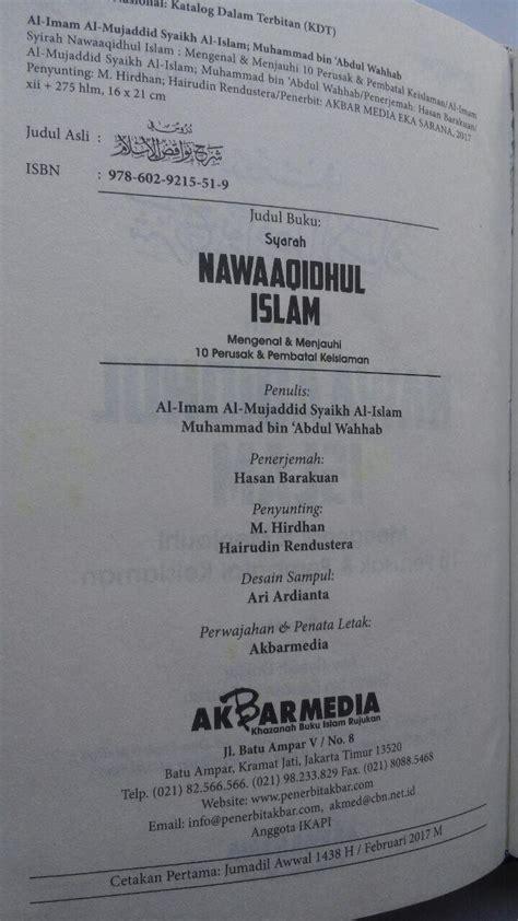 Wanita Wanita Kebanggaan Islam Akbar Media Karmedia buku syarah nawaaqidhul islam 10 perusak pembatal keislaman