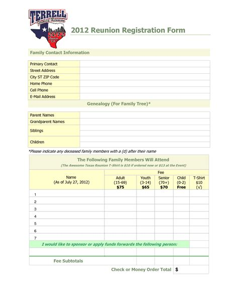 free family reunion planner templates family reunion registration template search