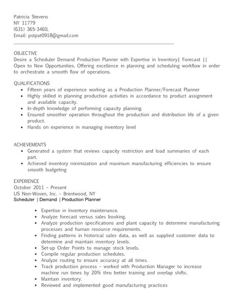planner resume sle sle production resume 28 images production scheduler