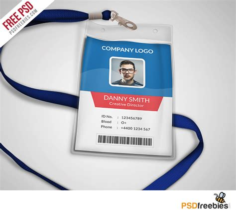 id card template multipurpose company id card free psd template