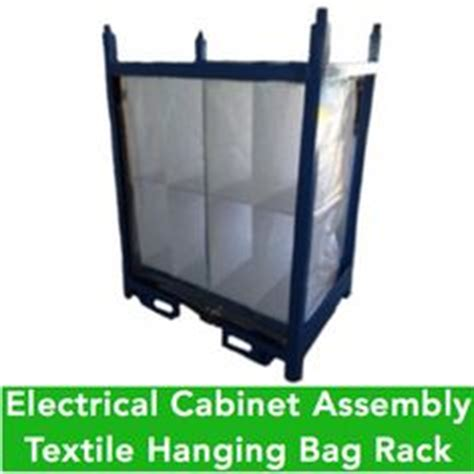 heavy bag rack system returnable shipping rack with hanging fabric bags for kitted dash parts developed for a heavy