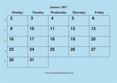 Calendar 2017 January 2017 January Calendar