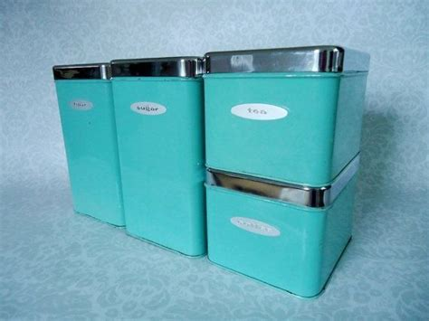 vintage turquoise metal kitchen canister set with by whitepicket 17 best images about blue canisters on pinterest