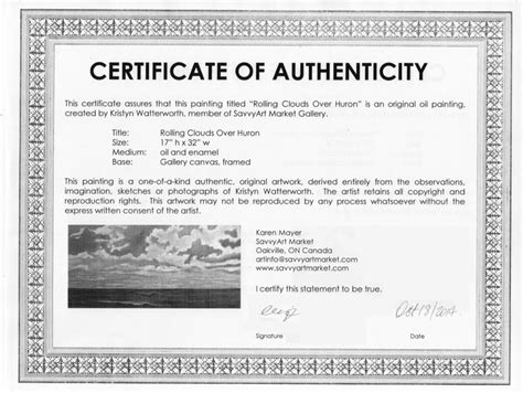 artist certificate of authenticity template artist certificate of sle certificate of authenticity for originals