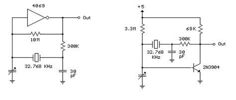 Oscilator 32768 Khz 32 768 khz oscillator using a