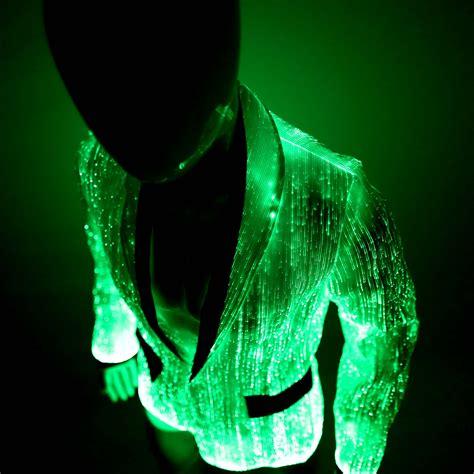 led light up clothing led jacket for men platinum glow in dark fiber optic