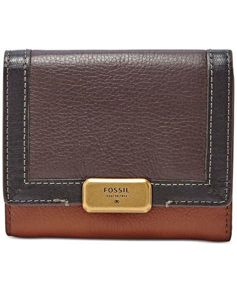 Fossil Emerson Multibrown 3 Tone Large lyst fossil emerson colorblock trifold wallet