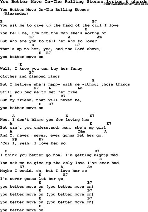 stones lyrics you better move on song