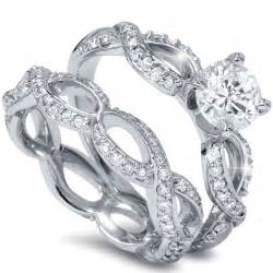 Infinity Engagement Ring Set 1 50ct Infinity Eternity Engagement Ring Matching Wedding