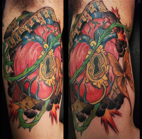 sacred heart tattoo colorful sacred picture