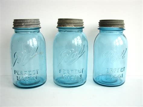 Antique Glass Vases Value Vintage Antique Aqua Blue Ball Perfect Mason Jars With Zinc