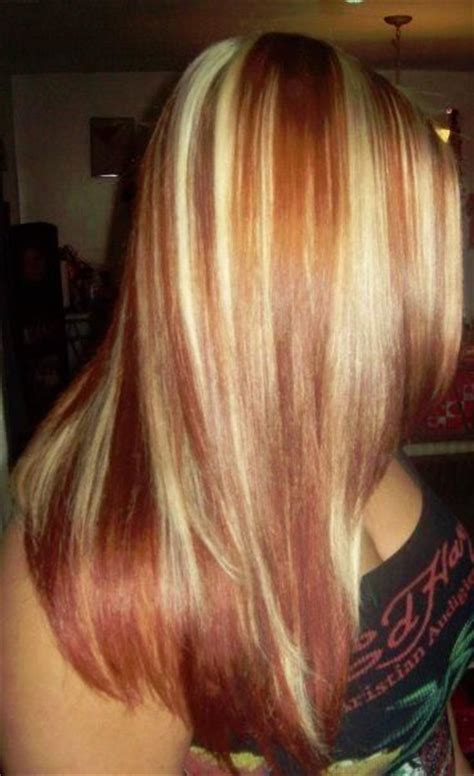 beautiful blonde hairstyles  red highlights