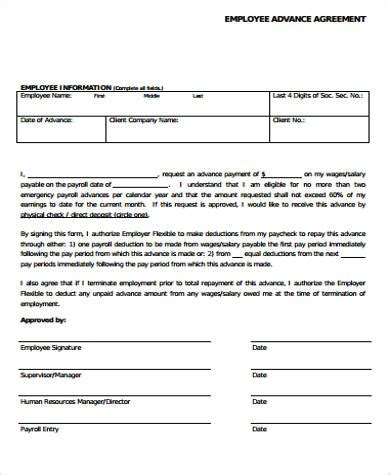 28 cash advance agreement template doc 499347