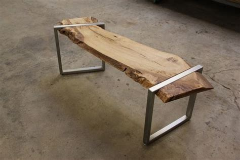 live edge bench buy a hand made live edge oak slab and stainless steel bench made to order from anand
