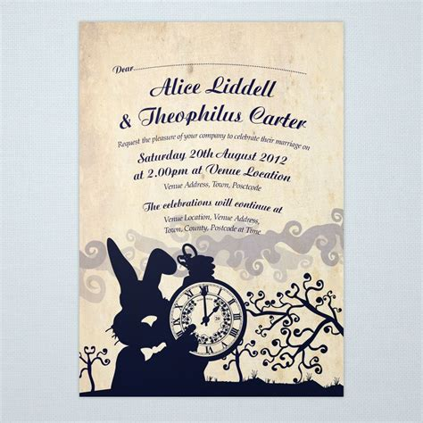 alice  wonderland bridal shower tea party invitation