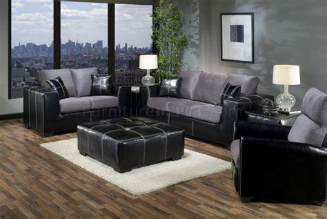grey fabric black vinyl modern sofa  loveseat set