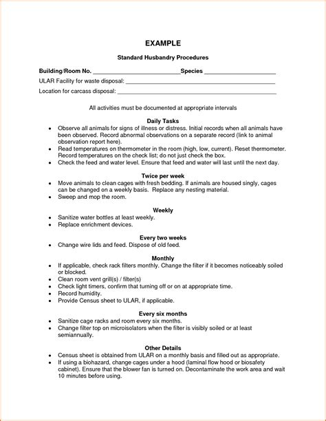 Sop Report Template 13 Standard Operating Procedures Exles